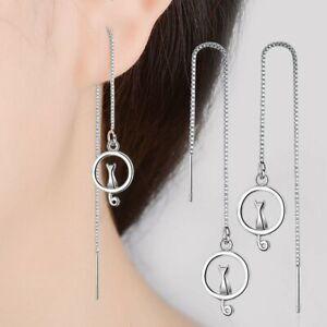 Women Silver Cat Animal Crystal Pearl Asymmetric Stud Earrings Jewelry Fashion
