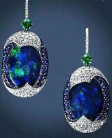 Luxury Real Blue Opal Sapphire Woman's 925 Silver Ear Hook Earrings Jewelry Gift