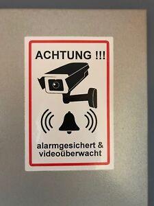 """2x Aufkleber 10 x 15 cm """"Achtung, alarmgesichert & videoüberwacht!"""""""