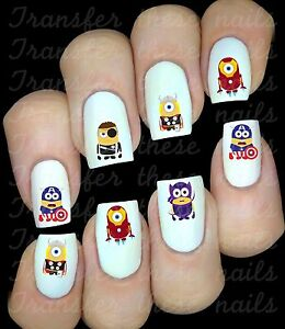 Autocollant Stickers ongles Minion superhéros manucure nail art water decal