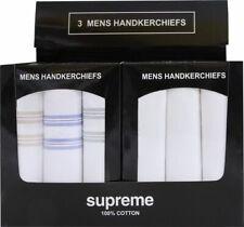 Luxury 100% Cotton Handkerchiefs  Mens Hankies  Plain White or Border Design