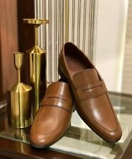 Handmade Men's Brown Cap Toe Moccasin Dress Shoes, Real Leather Office Shoes