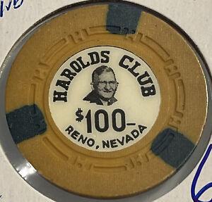 1953 HAROLDS CLUB $100 Casino Chip Reno Nevada 3.99 Shipping