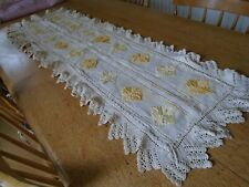 ANTIQUE HAND WORKED TABLE RUNNER - HARDANGER WORK - 15 X 44 INCHES