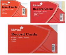 Silvine Record Cards Revision/Flash/Index/White/Ruled/Coloured FOR school/office