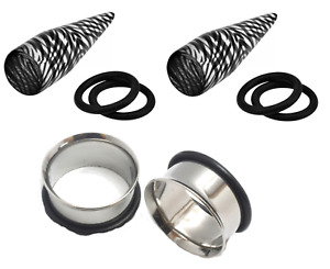 """7/16"""" 11mm Clear Black Stripe Tapers Stainless Steel Tunnels Ear Stretching Kit"""