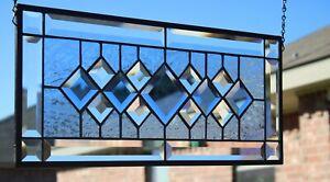 "Stained Glass Window Beautiful Blue Beveled 21.1/2"" x9 1/2"""