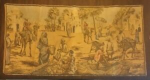 ANTIQUE BELGIUM ARAB MIDDLE EASTERN STREET SCENE MARKET PLACE TAPESTRY CAMEL