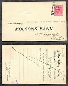1323 - HALIFAX NS 1898 Squared Circle on QV Leaf Postal Card. Molsons Bank