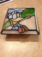 DONALD DUCK Stained Glass Jewel Trinket Box Disney Rare