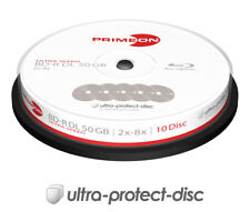 10 PRIMEON BD-R DL 50GB 8x Blu-ray Rohlinge Spindel Dual Layer Cakebox neu