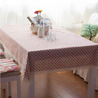 Strawberry Pattern Tablecloth Lace Rectangular Cotton Linen Table Cloth Cover