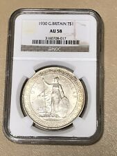 1930 GREAT BRITAIN 🇬🇧 SILVER TRADE DOLLAR T$1 NGC AU 58 BEAUTIFUL SCARCE COIN