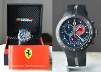 CLEAN Ferrari Jumbo 150th Anniversary Mens Black Chronograph Watch Fe06BK + BOX