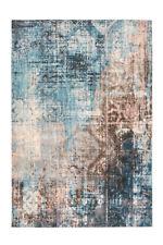 Ethno Teppich Vintage Azteken Maya Design Brush Beige Blau Türkis Braun Schwarz