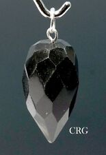 Faceted Black Tourmaline Drop Pendant w/ Silver Bail (FD14DG)