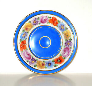 18thC-19thC Antique KPM Berlin Hand Painted Floral Ringed Demitasse Saucer Dish