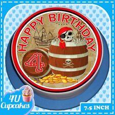 PRECUT HAPPY BIRTHDAY PIRATE'S GOLD  AGE 4 7.5 INCH ROUND EDIBLE CAKE TOPPER C71