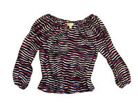 Michael Michael Kors Shirt Womens Medium Long Sleeve Off Shoulder Blouse Stripe