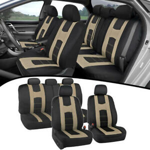 Split Bench Polyester Protective Seat Cover Set for Car Truck SUV -Beige/Black
