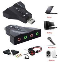 External Virtual 7.1 CH Channel USB 2.0 3D Audio Sound Card Adapter Mic Speaker