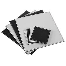 Set of 4 Placemats & Coasters Black Grey Square Reversible Table Place Settings