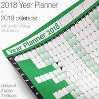 Year Planner Wall Chart Wall Planner Poster ✔2018 Chart + 2019 Calendar ✔GREEN