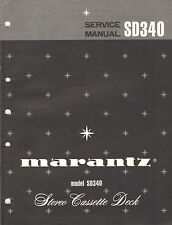 Marantz Service Manual Model SD340 stereo Cassette tape deck player Original