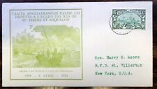 ST. PIERRE #144 ON COMMEMORATIVE COVER FRENCH/ENGLISH TREATY 1935