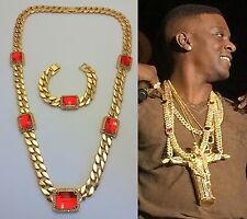 Mens New IcedOut Hip Hop Miami Cuban Link Red Ruby Chain Necklace & Bracelet Set