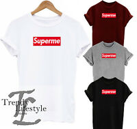 SUPERME PRINT FUNNY SLOGAN TRENDY T-SHIRT 100% COTTON 4 SIZE AVAILABLE