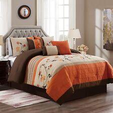 7 Piece Comforter Floral Elegant Embroidery Soft Bedspread Bedding Orange Set
