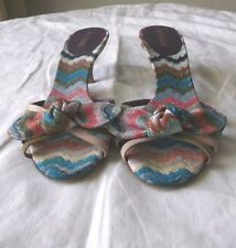 MISSONI WOMEN'S SHOES MULTI COLOR FABRIC & LEATHER MULES US SIZE 6.5 M