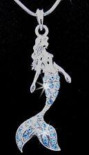 "Mermaid Silver Tone Aqua Crystal Pendant Charm 17"" Chain Necklace Blue 1"
