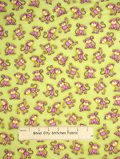 Noahs Ark Monkey Toss Purple Green Cotton Fabric #6300 Two By Two HG&Co YARD