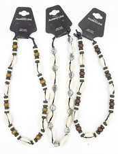 New 3 Piece Cowrie Shell & Coco Bead Surfer Style Necklace Lot #N2038-3PC