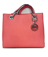 Michael Kors Cynthia Small Crossgrain Satchel Leather Handbag Purse 👜 -Coral