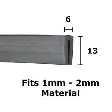 De Goma Negra u Canal ribete trim sello 6mm X 13mm del Metal Casa