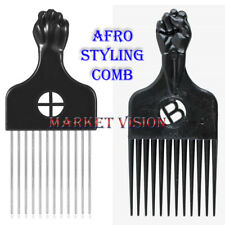 Afro Styling Comb Black Fist Metal & Plastic African hair Pik Professional Magi