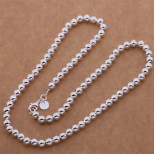 925 Sterling silver Plated Fashion Pretty 6MM bead Beautiful Necklace New AN652