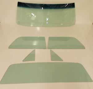 1964-1967 Chev El Camino Glass Windshield Vent Door Rear Back Set Original Green