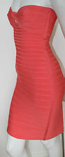 authentic Herve Leger pink coral Arabella strapless stretch bandage dress new S