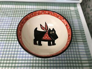 "Black Lab Labrador Orig. Red/White/Black Stoneware Food Water Bowl  7 1/4"" x 3"""