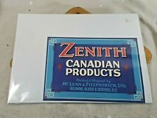 Vtg Fruit Crate Label Zenith Canadian Products Kelowna Oliver Osoyoos BC 10 x 7