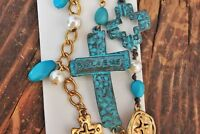 New Patina and Gold Cross Charm Bracelet Chain Western Blessed Cowgirl Bling