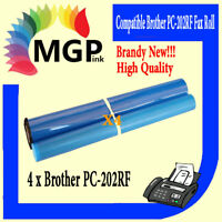 4x PC-202RF PC202 Fax Film Refill Rolls for Brother 1020 1010 1570 Fax Cartridge
