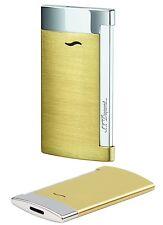 S.T. Dupont Slim 7 gold gebürstet Feuerzeug mit Flat-Jetflamme Neu - 027703