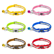 Reflective Dog Cat Collar Pet Kitten Puppy Quick Fit Nylon Collar with Bell Blue