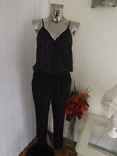 NEXT BLACK EMBELLISHED JUMPSUIT TROUSERS TOP ALL IN ONE SIZE 6 BNWT RP £95