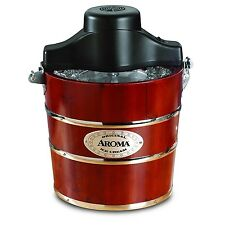 Aroma 4-Quart Traditional Ice Cream Maker, Fir Wood AIC-244 New